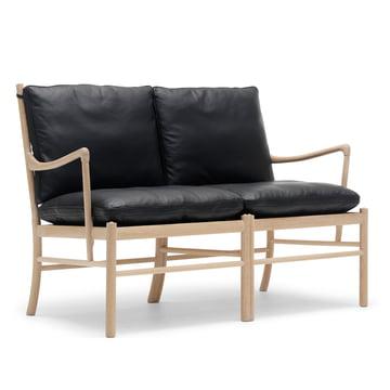 OW149-2 Colonial Sofa von Carl Hansen aus Eiche geölt und Leder Schwarz