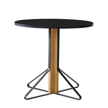 REB 003 Kaari Tisch Ø 80 cm von Artek in Hochglanz Schwarz aus Eiche natur