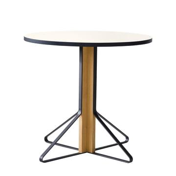 REB 003 Kaari Tisch Ø 80 cm von Artek in Hochglanz Weiss aus Eiche natur