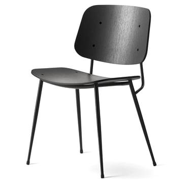 Søborg Stuhl von Fredericia aus Eiche schwarz lackiert und Stahl