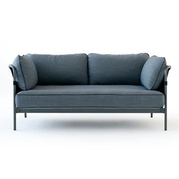 Hay - Can Sofa, 2-Sitzer, grau / Canvas schwarz / Canvas blau