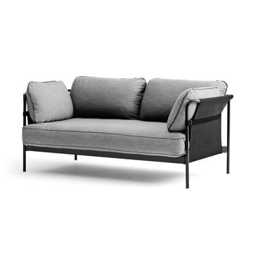 Hay - Can Sofa, 2-Sitzer, schwarz / Canvas grau / Surface 120 hellgrau
