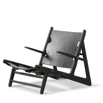 Hunting Chair von Fredericia aus Eiche in Schwarz und Sattelleder in Schwarz