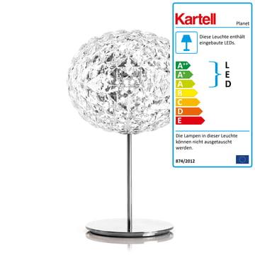 Dimmbare Planet LED Tischleuchte mit Standfuss von Kartell in Glasklar