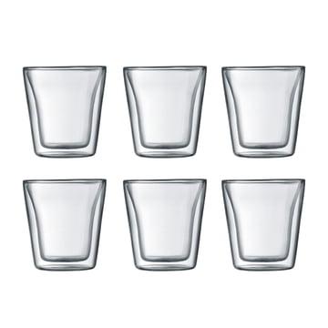 Bodum - Canteen Glas, doppelwandig, 0,1 l, transparent (6er-Set)