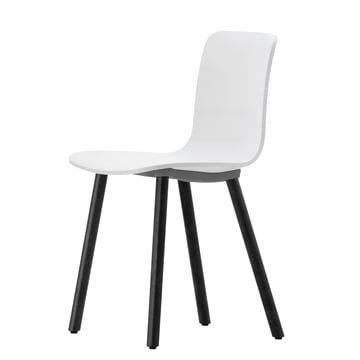 Vitra - Hal Wood Stuhl, weiss / Eiche dunkel / Filzgleiter
