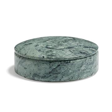 Hay - Lens Box mit Deckel S, stapelbar, Ø 14 cm, grün, Marmor