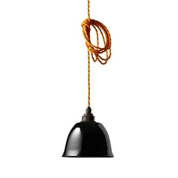Der Nook London - Miniature Bell Lampenschirm in schwarz mit Kabel in gelb