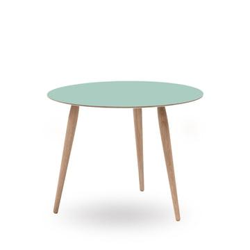 Play Round Laminate Beistelltisch Ø 60 cm von bruunmunch in Dusty Jade / Eiche weissöl