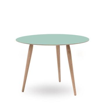 Play Round Laminate Beistelltisch Ø 90 cm von bruunmunch in Dusty Jade / Eiche weissöl