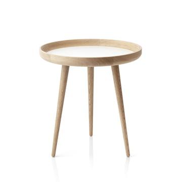 Der applicata - Tisch Ø 49 cm, Eichenholz / weisses Laminat