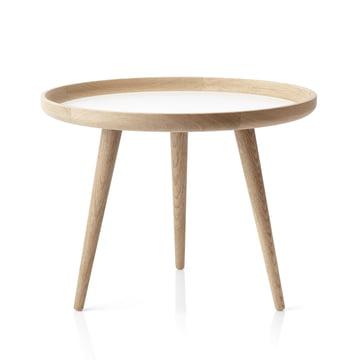 Der applicata - Tisch Ø 69 cm, Eichenholz / weisses Laminat