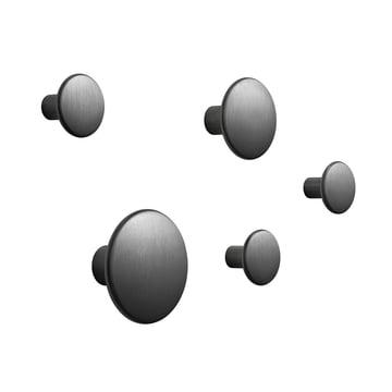 """5er-Set Wandhaken """"The Dots Metal"""" von Muuto in Schwarz"""