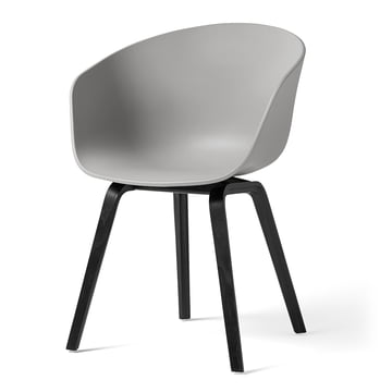 Hay - About A Chair AAC 22, Holz-Vierbeingestell, black / concrete grey (Filzgleiter)
