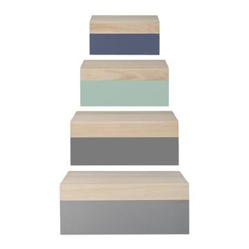 Bloomingville - Storage Box (4er-Set), natur / pastellfarben