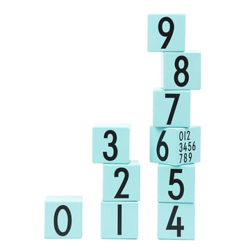 AJ Wooden Number Cubes (10er-Set) von Design Letters in Türkis