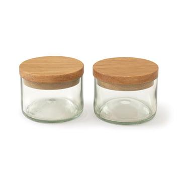 Salz & Kräuterdosen (2er-Set) von side by side aus Eiche / Glas