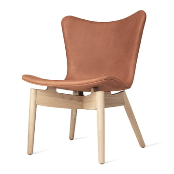 Shell Lounge Chair von Mater in Eiche matt lackiert / Leder Dunes Rust