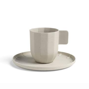 Paper Porcelain Kaffeetasse mit Untertasse von Hay in Hellgrau