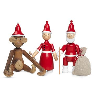 Holz-Affe mit Zipfelmütze, Weihnachtsfrau und Weihnachtsmann von Kay Bojesen