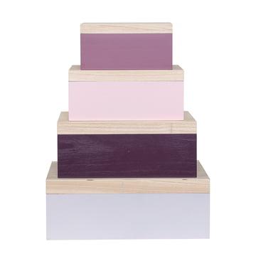 Bloomingville - Storage Box (4er-Set), rosa