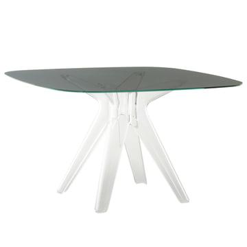 Sir Gio Tisch 120 x 120 cm von Kartell in Weiß transparent / Fumé