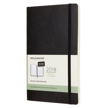 12 Monate Wochen-Notizkalender 2018 (Deutsch) Large A5, Softcover von Moleskine in Schwarz