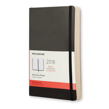 12 Monate Tageskalender 2018 Large Softcover von Moleskine in Schwarz