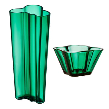 Angebots-Set: Aalto Vase Finlandia 255 mm + Aalto Schale 75 mm von Iittala in Smaragdgrün