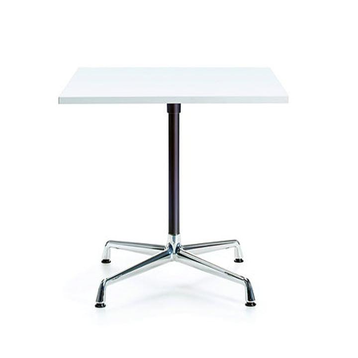 Contract Table quadratisch von Vitra in Melamin weiss / Chrom, basic dark