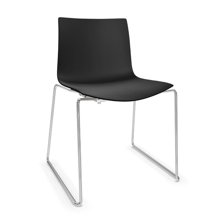 Arper Catifa 46 Stuhl - Kufengestell, Polypropylen, schwarz