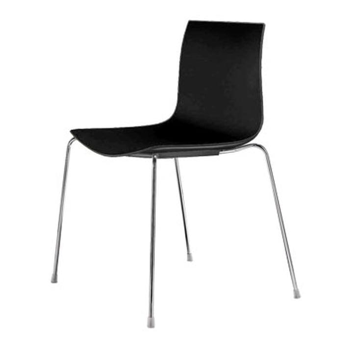 Arper Catifa 46 Stuhl - Vierfussgestell, Polypropylen, schwarz