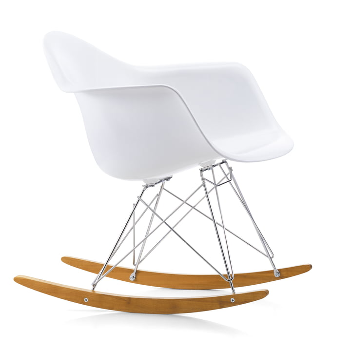Eames Plastic Armchair RAR von Vitra in Ahorn gelblich / Chrom / weiss