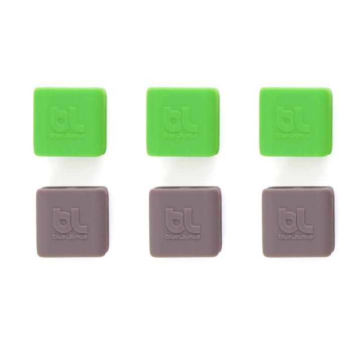 Bluelounge - CableClip, small: grün und grau