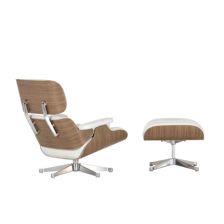 Vitra Eames Lounge Chair + Ottoman - Nussbaum, weiss, poliert