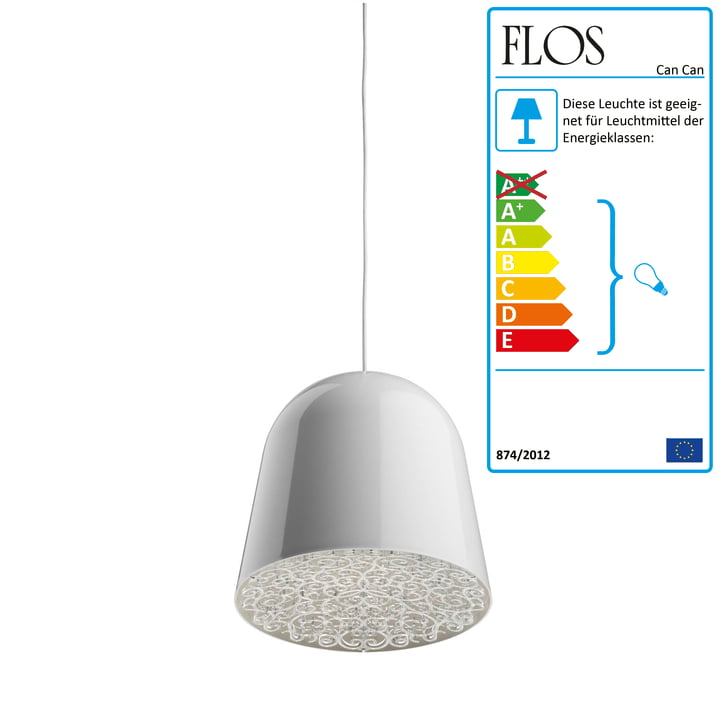 Flos - Can Can Pendelleuchte, weiss / transparent