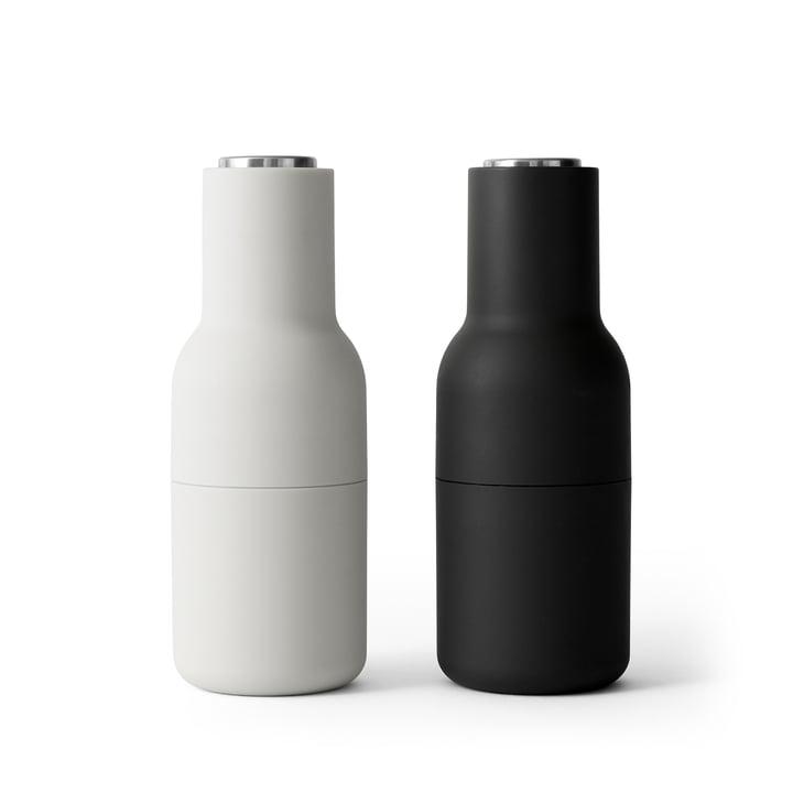Bottle Salz- und Pfeffermühlen Set von Menu in Ash / Carbon (Edelstahldeckel)