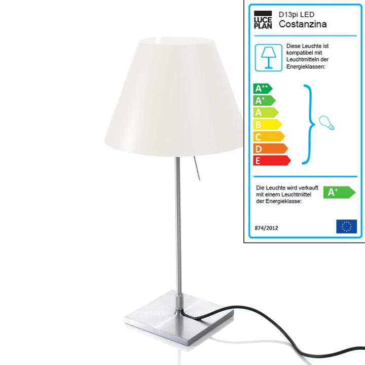 Luceplan - Costanzina Tischleuchte 1D13 LED, aluminium / weiß