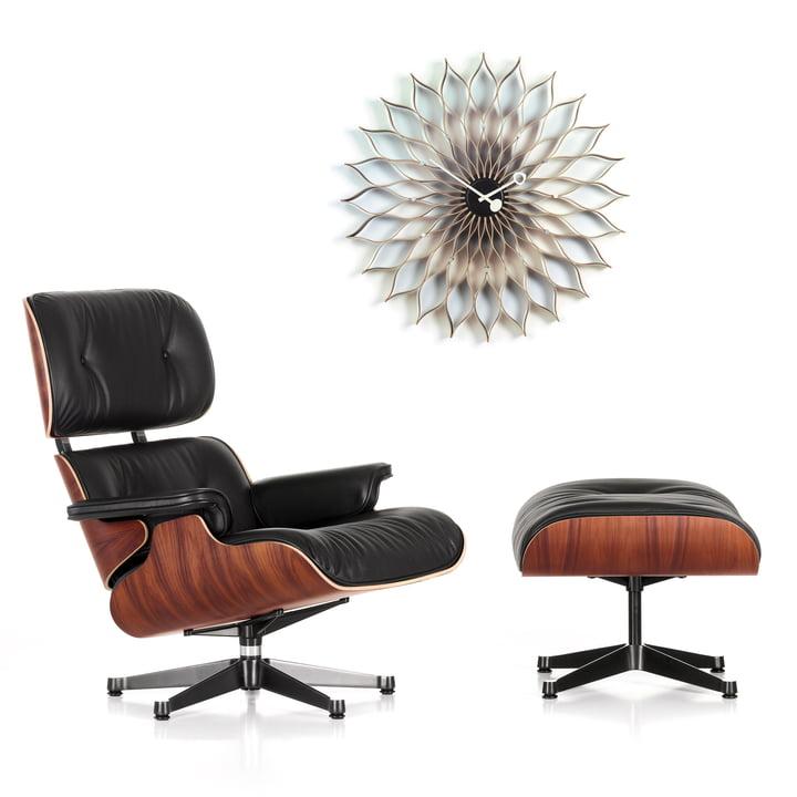 Weihnachtsangebot: Vitra Lounge Chair & Ottoman +Sunflower Clock