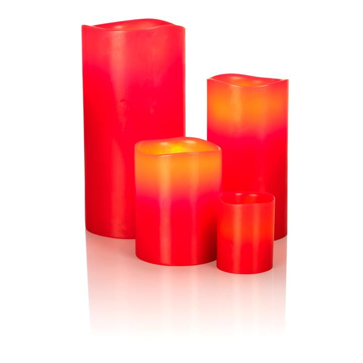 LED Echtwachskerze von Klein & More in Rot