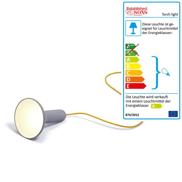 Established & Sons - Torch light, Boden, kegel, grau-gelb