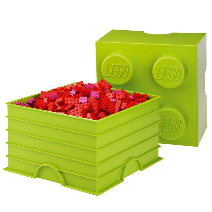Lego - Storage Box 4, hellgrün - mit kleinen roten Legosteinen