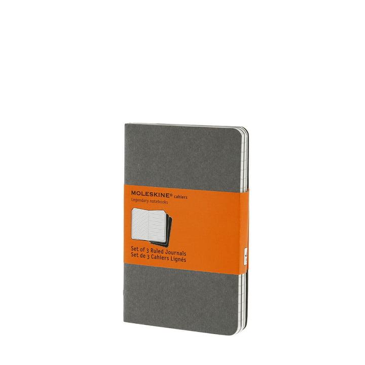 Cahier Pocket liniert von Moleskine in warmem Hellgrau (3er-Set)