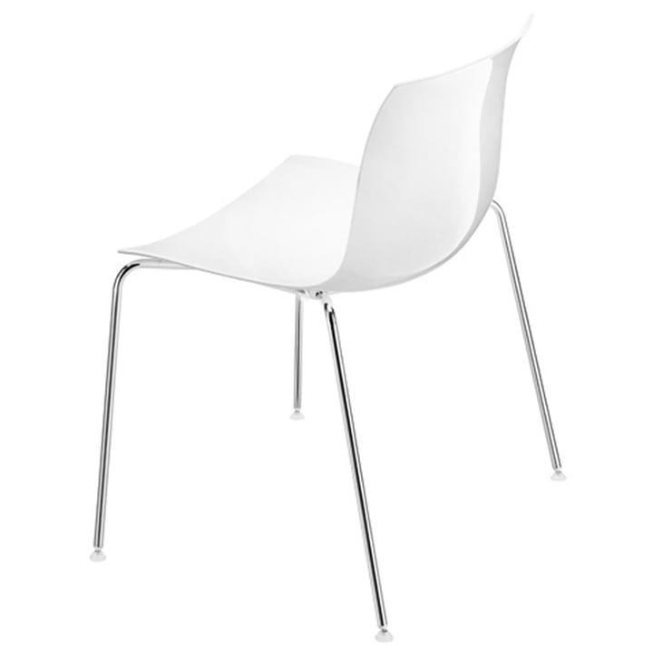 Arper - Catifa 53 Stuhl, Kunststoff-Sitzschale weiss / Vierfussges