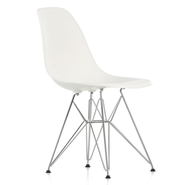 Eames Plastic Side Chair DSR von Vitra in verchromt / weiss