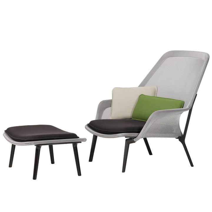 Vitra - Slow Chair & Ottoman, aubergine, braun / creme