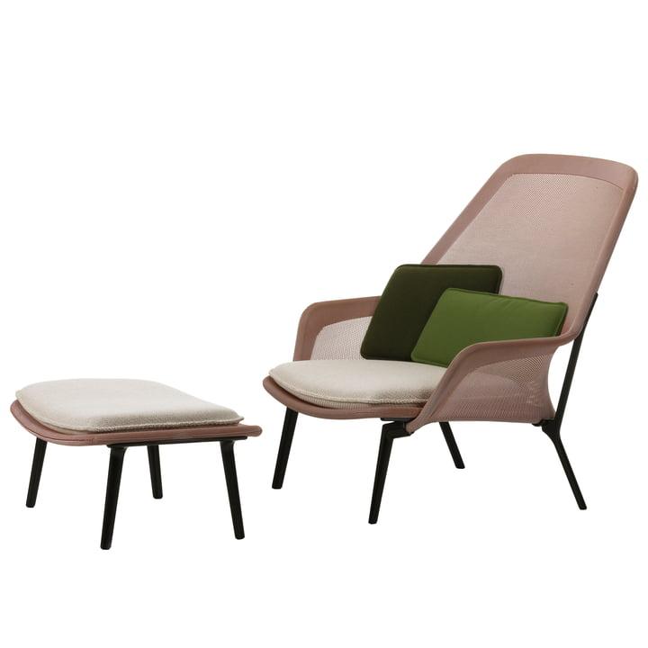 Vitra - Slow Chair & Ottoman, aubergine, rot / creme