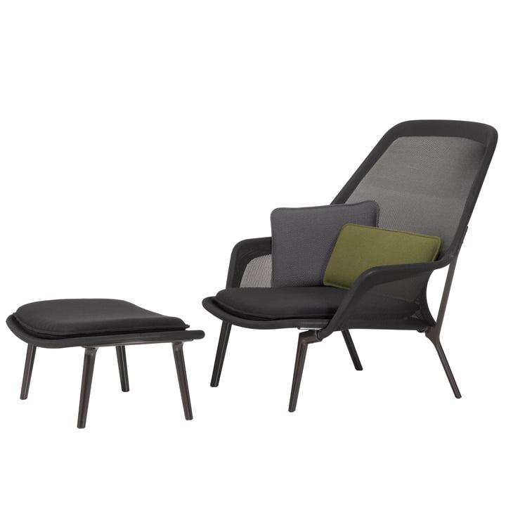 Vitra - Slow Chair & Ottoman, aubergine / Tricot schwarz