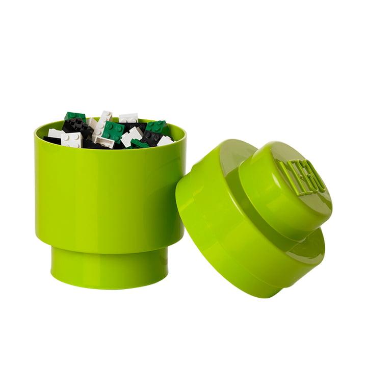 Lego - Storage Brick 1 Round, lime - offen