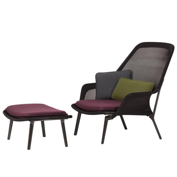 Slow Chair & Ottoman von Vitra in chocolate und braun
